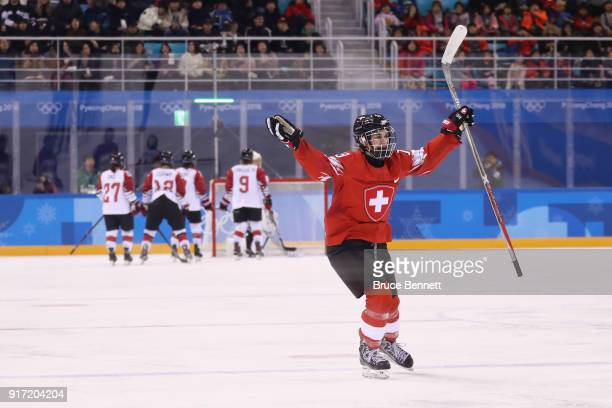 Sara Benz of Switzerland celebrates after scoring a goal in the second period against Japan during the Women's Ice Hockey Preliminary Round - Group B...