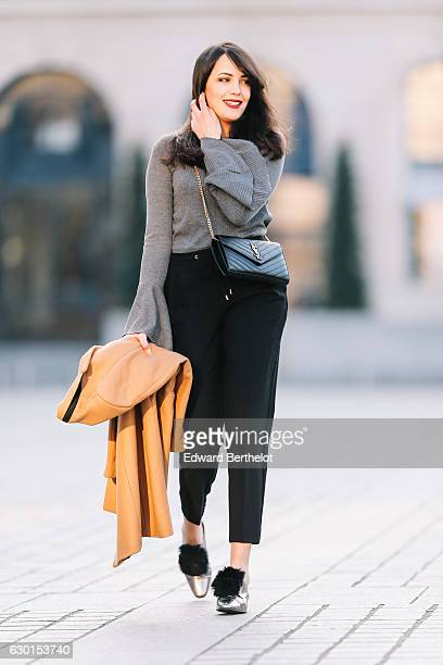 Sara Benziane fashion and life style blogger wears Zara gray shiny shoes with pompom Zara black pants a Zara brown long coat a Saint Laurent YSL...