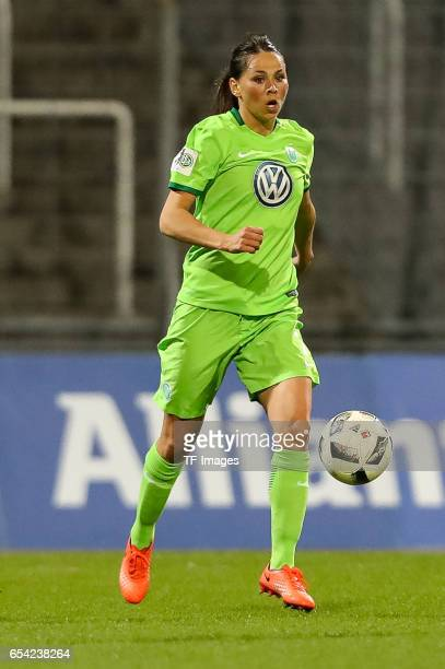Sara Bjoerk Gunnarsdottir of Wolfsburg controls the ball during the Women's DFB Cup Quarter Final match between FC Bayern Muenchen and VfL Wolfsburg...