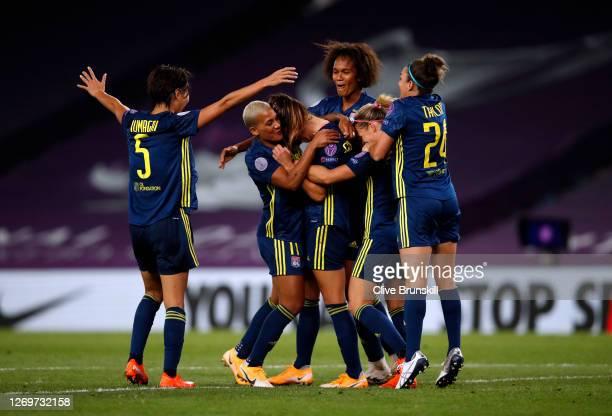 Sara Bjork Gunnarsdottir of Olympique Lyon celebrates with teammates after scoring her team's third goal during the UEFA Women's Champions League...