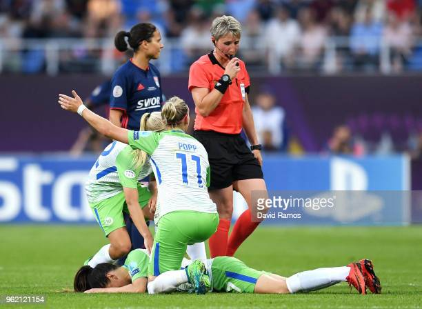 Sara Björk Gunnarsdottir of Vfl Wolfsburg lays on the pitch after injuring herself during the UEFA Womens Champions League Final between VfL...