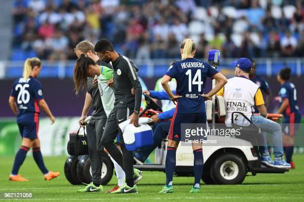 Sara Björk Gunnarsdottir of Vfl Wolfsburg leaves the pitch injured during the UEFA Womens Champions League Final between VfL Wolfsburg and Olympique...