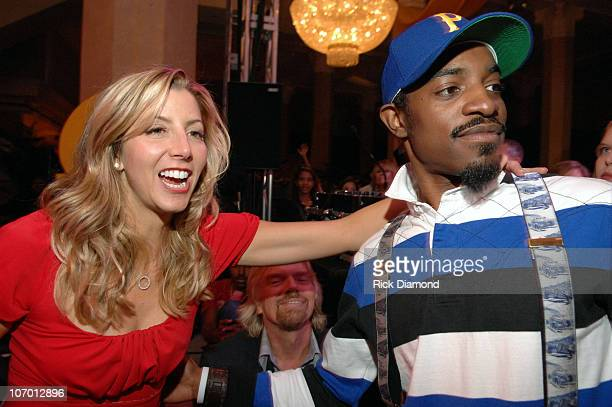 Sara Blakely and Andre '3000' Benjamin during Sir Richard Branson CoHosts the Sara Blakely Foundation 'Give a Damn' Party Inside at Macy's Building...