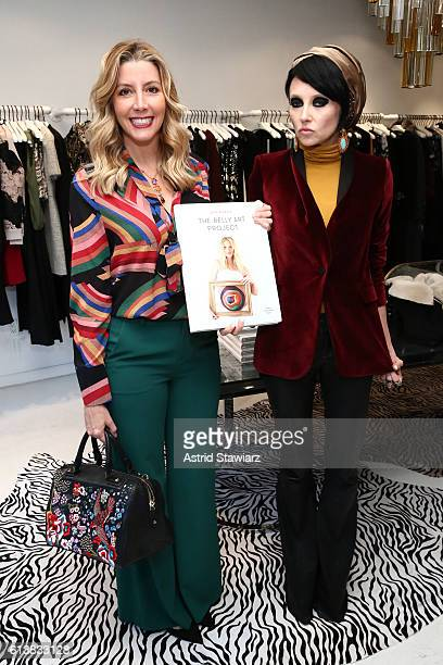 Sara Blakely and CEO Creative Director of Alice Olivia Stacey Bendet pose for a photo together as Sara Blakely and Alice Olivia celebrate the launch...