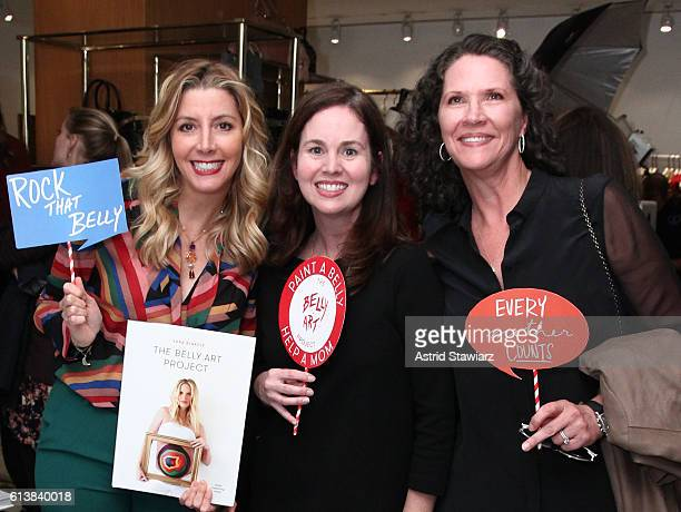 Sara Blakely Leah Friedman and Bridgette Cunniff pose for a photo as Blakely and Alice Olivia celebrate the launch of 'The Belly Art Project' on...