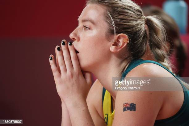 Sara Blicavs of Team Australia reacts from the bench during the second half of the Women's Preliminary Round Group C game against Belgium on day four...