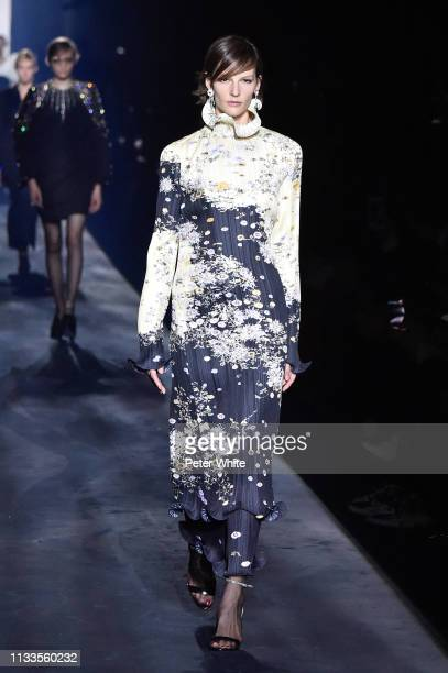 Sara Blomqvist walks the runway during the Givenchy show as part of the Paris Fashion Week Womenswear Fall/Winter 2019/2020 on March 03, 2019 in...