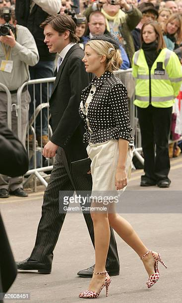 Sara Buys fiancee of Tom Parker Bowles departs the Civil Ceremony following the marriage between HRH Prince Charles the Prince of Wales and Tom's...