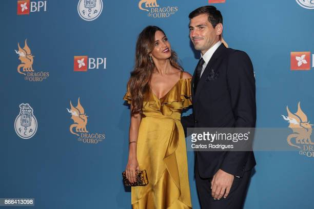 Sara Carbonero and FC Porto's goalkeeper Iker Casillas from Spain attends FC Porto Gala Dragoes de Ouro 2016 2017 at Dragao Caixa on October 25 2017...
