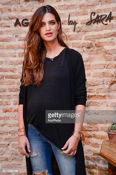 Sara Carbonero presents 'Agatha by Sara' new collection at Santa Eulalia Bakery on April 14 2016 in Madrid Spain