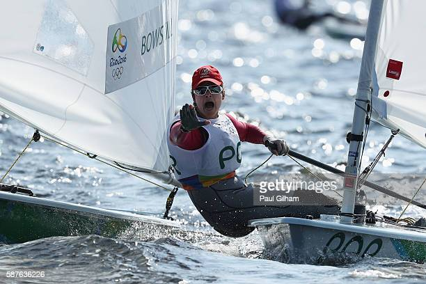 Sara Carmo of Portugal competes in the Women's Laser Radial class on Day 4 of the Rio 2016 Olympic Games at the Marina da Gloria on August 9 2016 in...