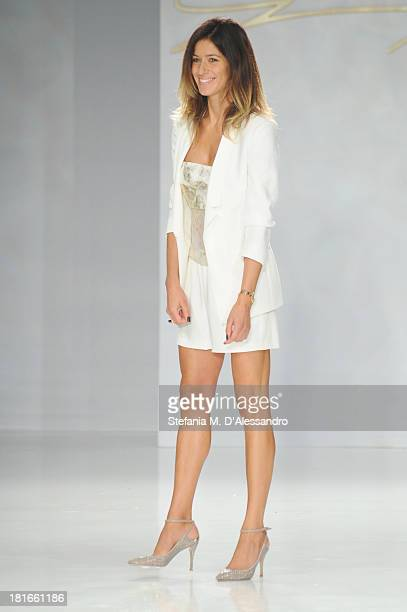 Sara Cavazza Facchini walks the runway at the Genny show as a part of Milan Fashion Week Womenswear Spring/Summer 2014 at on September 23 2013 in...