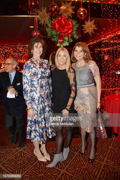 Sara Colleton Candace Bushnell and Ivana Lowell attend George Farias Anne Jay McInerney Host A Holiday Party at The Doubles Club on December 13 2018...