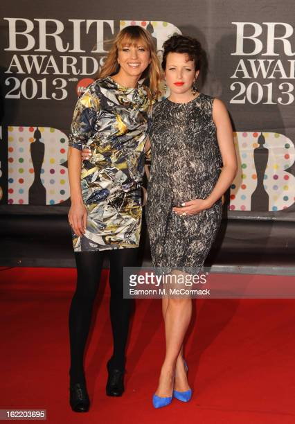 Sara Cox and Annie Mac attend the Brit Awards 2013 at the 02 Arena on February 20 2013 in London England