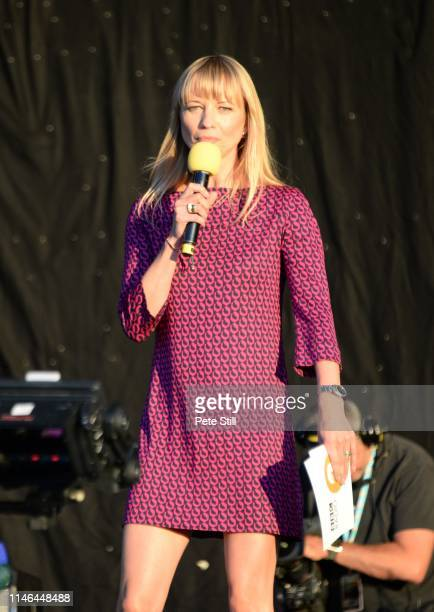 Sara Cox introduces the next performer on stage at the Radio 2 'Festival In A Day' at Hyde Park September 11th 2016 in London England