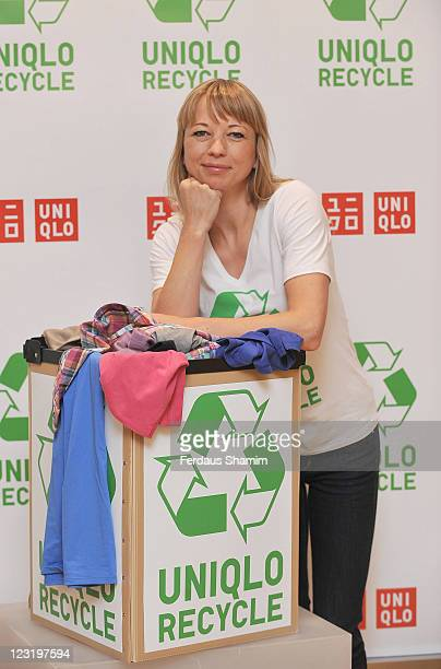 Sara Cox launches UNIQLO's 'All Product Recycling' Initiative at Uniqlo on September 1 2011 in London England
