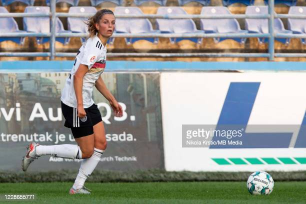 Sara Dabritz of Germany comes forward on the ball during the UEFA Women's EURO 2022 Qualifier match between Montenegro and Germany at Pod Goricom on...