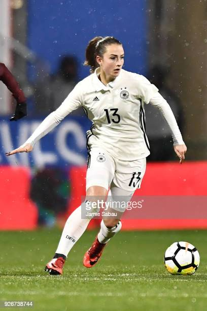 Sara Dabritz of Germany controls the ball against the US National Team on March 1 2018 at MAPFRE Stadium in Columbus Ohio The United States defeated...