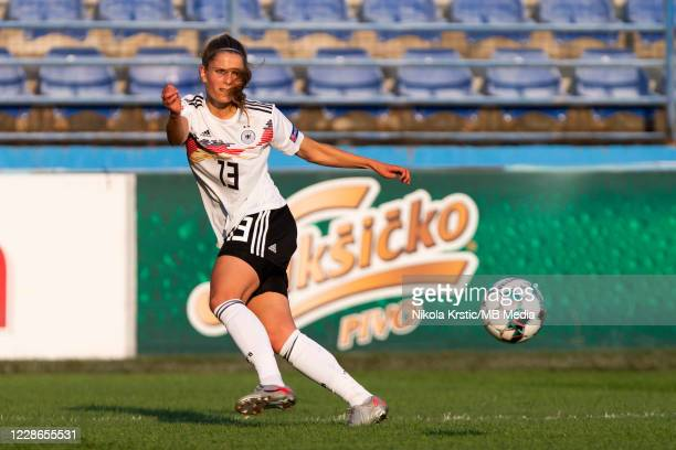 Sara Dabritz of Germany crosses the ball during the UEFA Women's EURO 2022 Qualifier match between Montenegro and Germany at Pod Goricom on September...