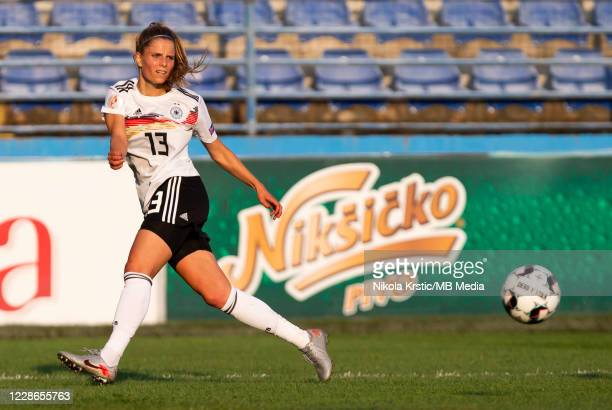 Sara Dabritz of Germany passes the ball during the UEFA Women's EURO 2022 Qualifier match between Montenegro and Germany at Pod Goricom on September...