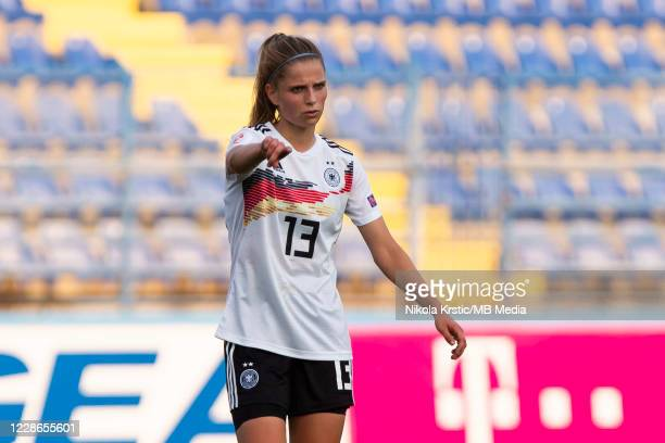 Sara Dabritz of Germany reacts during the UEFA Women's EURO 2022 Qualifier match between Montenegro and Germany at Pod Goricom on September 22 2020...