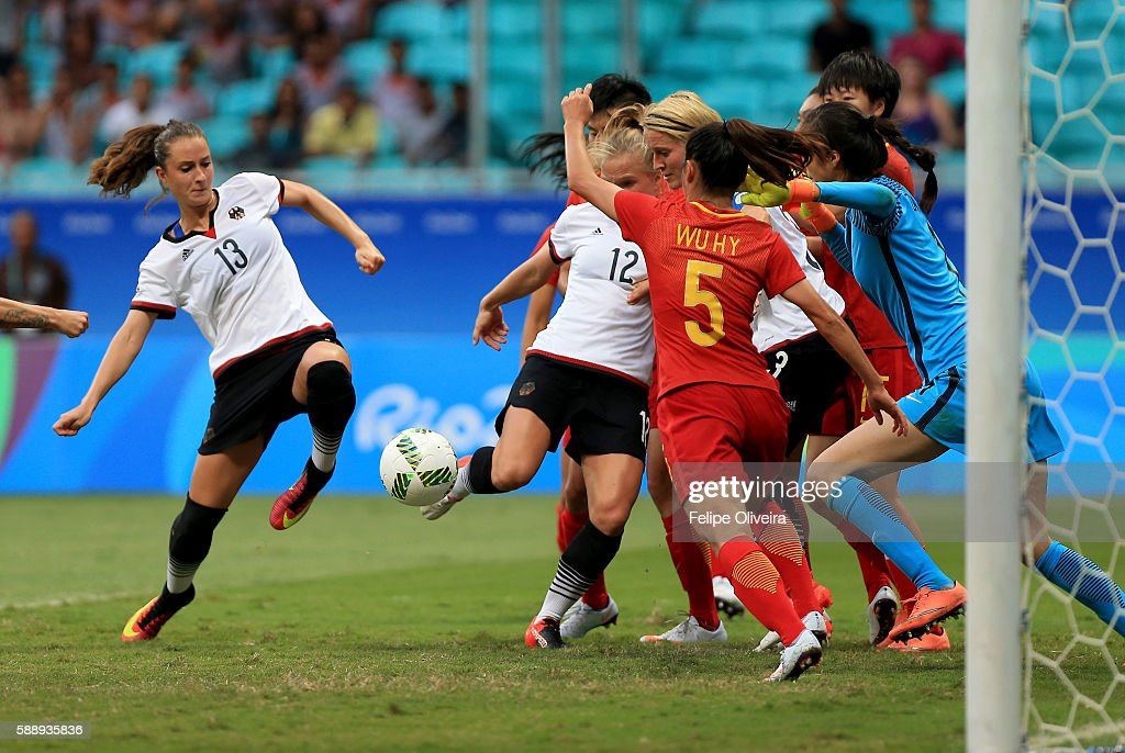 Sara Dabritz of Germany shoots at goal during the Women's Football Quarterfinal match between China and Germany on Day 7 of the Rio 2016 Olympic Games at Arena Fonte Nova on August 12, 2016 in Salvador, Brazil.