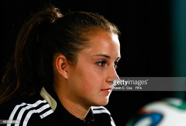 Sara Dabritz of Germany speaks to the media prior to training on August 4 2014 at Commonwealth Stadium in Edmonton Alberta Canada