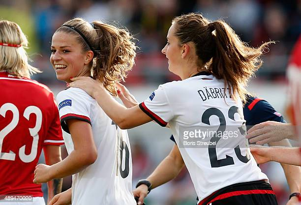 Sara Daebritz and Melanie Leupolz of Germany celebrate during the UEFA Women's Euro 2017 Qualifier between Germany and Hungary at Erdgas Sportpark on...