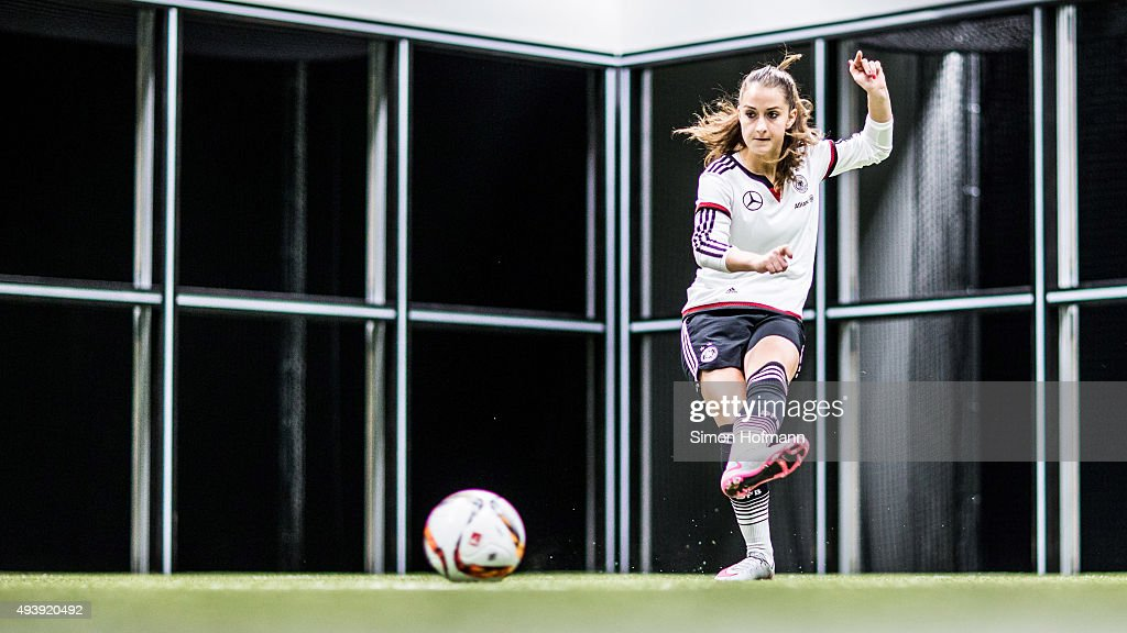 Sara Daebritz attends a Germany Women's Footbonaut Training Session at on October 23, 2015 in Zuzenhausen, Germany.