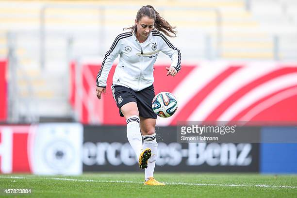 Sara Daebritz controls the ball during a Germany Women's Training Session on October 24 2014 in Offenbach Germany