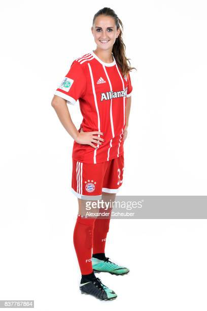 Sara Daebritz of Bayern Muenchen poses during the Allianz Frauen Bundesliga Club Tour at FC Bayern Muenchen Campus on August 20 2017 in Munich Germany