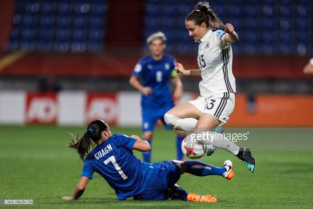 Sara Daebritz of Germany and Alia Guagni of Italy battle for the ball during the UEFA Women's Euro 2017 at Koning Willem II Stadium on July 21 2017...