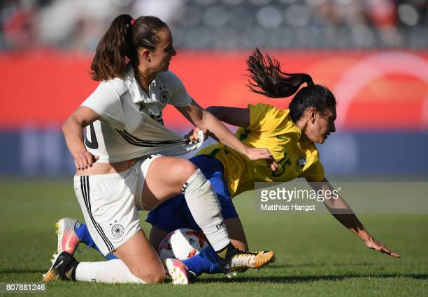 Sara Daebritz of Germany and Leticia Santos of Brazil compete for the ball during the Women's International Friendly match between Germany and Brazil...