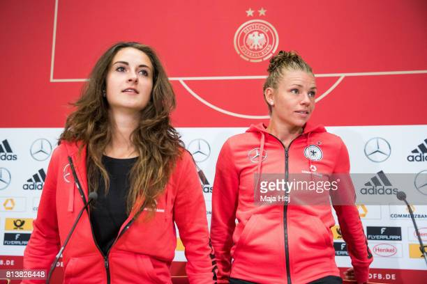'SHERTOGENBOSCH NETHERLANDS JULY 13 Sara Daebritz of Germany and Linda Dallmann of Women's Team arrive to a press conference on July 13 2017 in...
