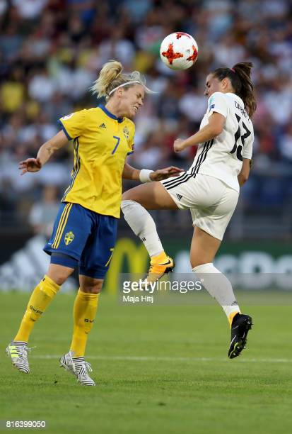 Sara Daebritz of Germany and Lisa Dahlkvist of Sweden compete for the ball during the Group B match between Germany and Sweden during the UEFA...