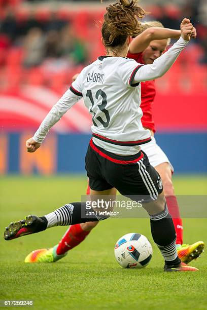 Sara Daebritz of Germany battles with a player of Austria during the Women's International Friendly match between Germany and Austria at the...