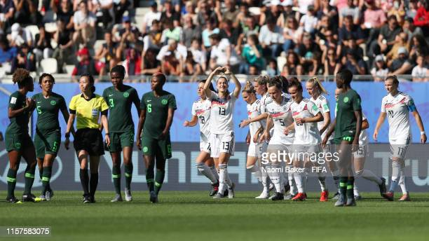 Sara Daebritz of Germany celebrates after scoring her team's second goal during the 2019 FIFA Women's World Cup France Round Of 16 match between...