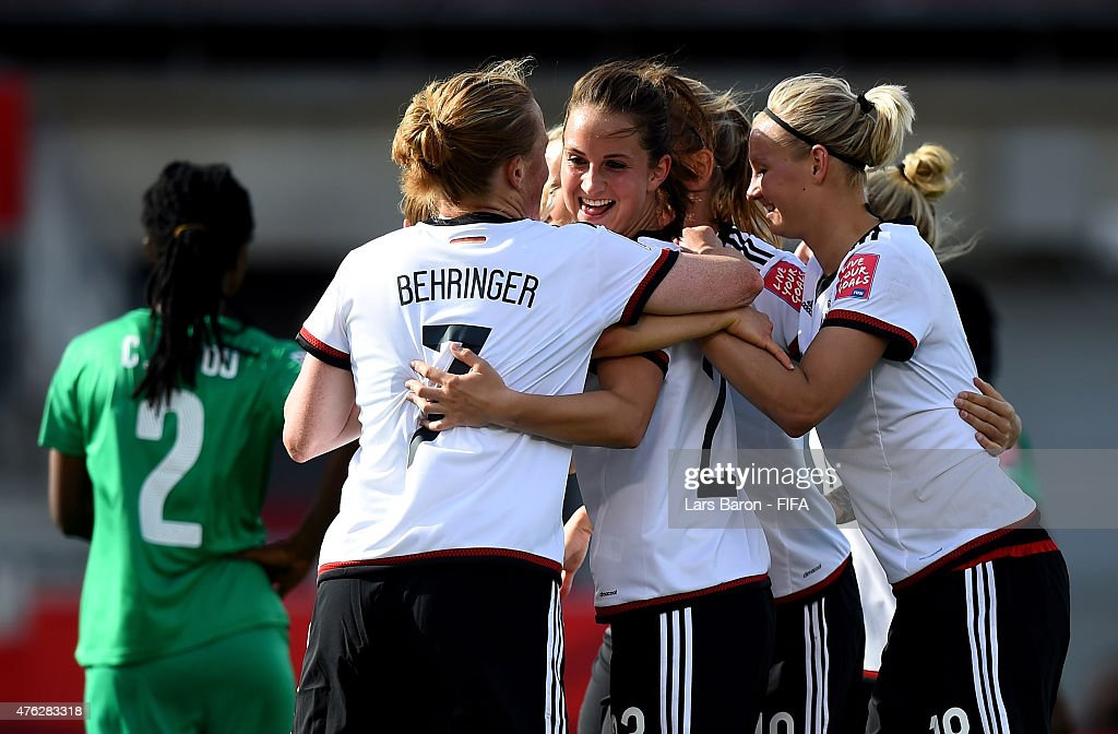 Sara Daebritz of Germany celebrates with team mates after scoring her teams goal during the FIFA Women's World Cup 2015 Group B match between Germany and Cote D'Ivoire at Lansdowne Stadium on June 7, 2015 in Ottawa, Canada.