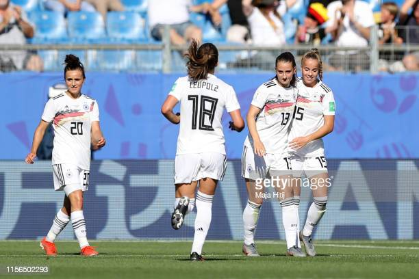 Sara Daebritz of Germany celebrates with teammate Giulia Gwinn after scoring her team's second goal during the 2019 FIFA Women's World Cup France...