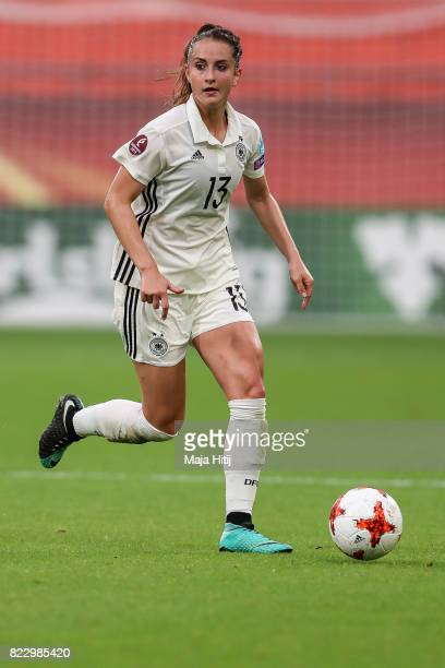 Sara Daebritz of Germany controls the ball during the Group B match between Russia and Germany during the UEFA Women's Euro 2017 at Stadion...