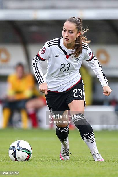 Sara Daebritz of Germany controls the ball during the UEFA Women's Euro 2017 Qualifier match between Germany and Turkey at Hardtwaldstadion on...