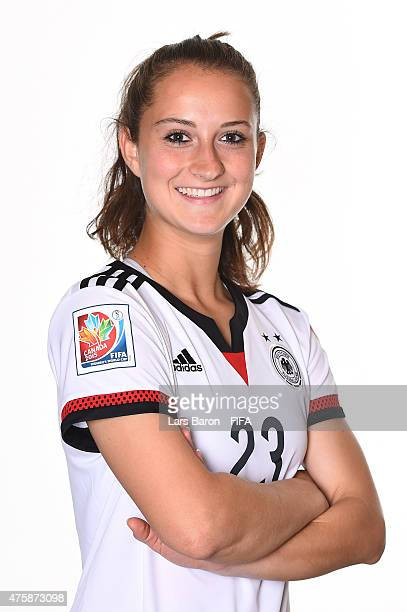 Sara Daebritz of Germany poses during the FIFA Women's World Cup 2015 portrait session at Fairmont Chateau Laurier on June 3 2015 in Ottawa Canada