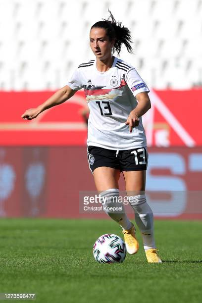 Sara Daebritz of Germany runs with the ball during the UEFA Women's EURO 2022 Qualifier match between Germany and Ireland at Stadion Essen on...