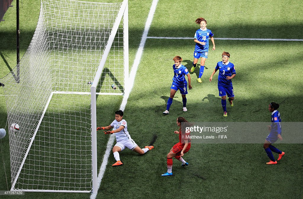 Sara Daebritz of Germany scores a goal during the FIFA Women's World Cup 2015 Group B match between Thailand and Germany at Winnipeg Stadium on June 15, 2015 in Winnipeg, Canada.