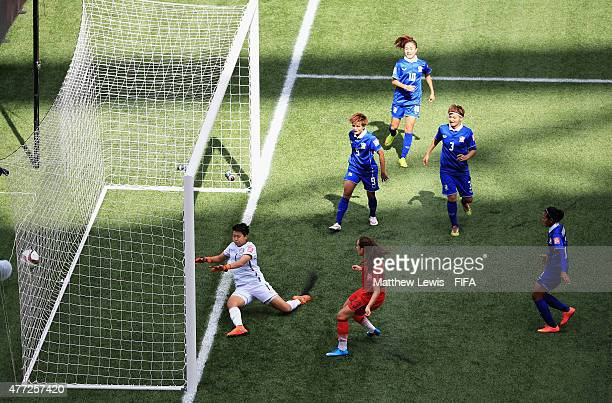 Sara Daebritz of Germany scores a goal during the FIFA Women's World Cup 2015 Group B match between Thailand and Germany at Winnipeg Stadium on June...