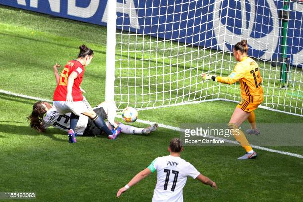 Sara Daebritz of Germany scores her team's first goal during the 2019 FIFA Women's World Cup France group B match between Germany and Spain at Stade...