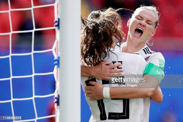 Sara Daebritz of Germany Women celebrates 10 with Alexandra Popp of Germany Women during the World Cup Women match between Germany v Spain at the...