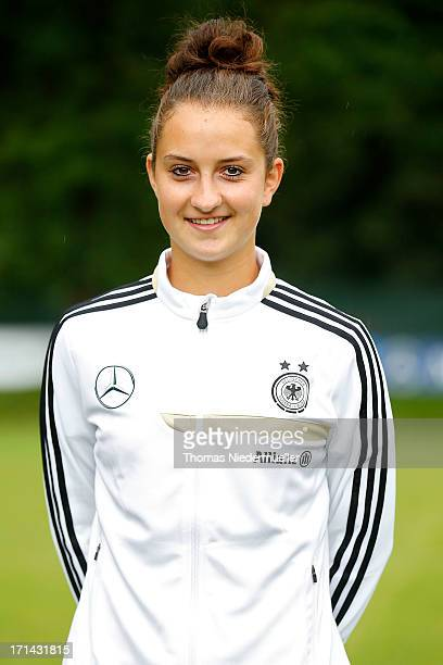Sara Daebritz poses during the German women's national team training session at HVB Club Sportzentrum on June 24 2013 in Munich Germany