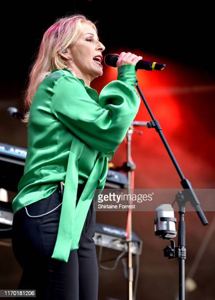 Sara Dallin of Bananarama performs during Manchester Pride 2019 on August 25 2019 in Manchester England