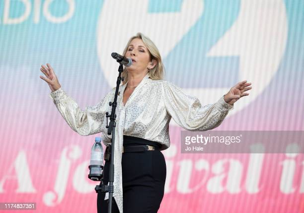 Sara Dallin of Bananrama performs on stage during BBC2 Radio Live 2019 at Hyde Park on September 15 2019 in London England